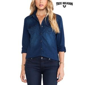 True Religion Georgia Western Shirt in Spirit Bird